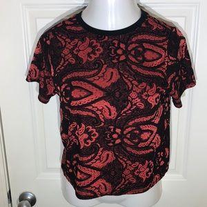 TOPSHOP RED/BLACK SHORT SLEEVE SIZE US 8